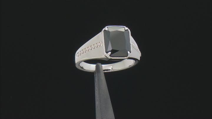 Black Cubic Zirconia Rhodium Over Sterling Silver Men's Ring 7.37ctw