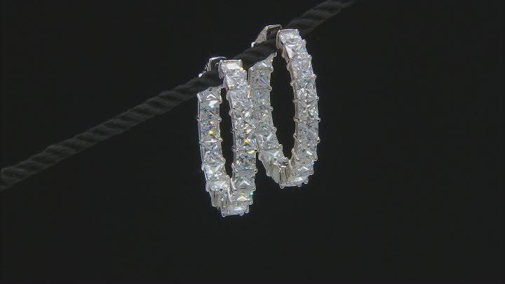White Cubic Zirconia Rhodium Over Sterling Silver Hoop Earrings 35.20ctw
