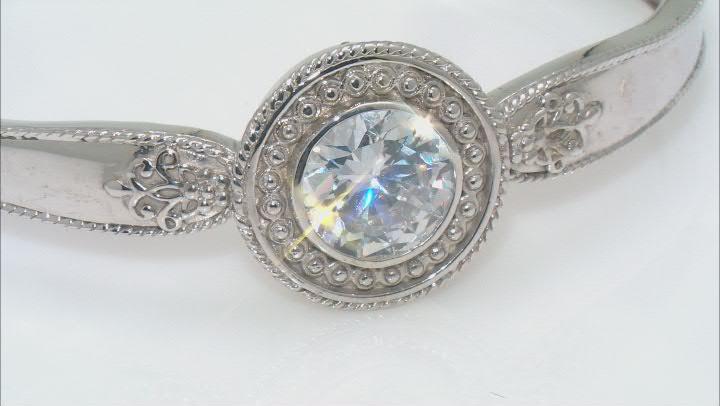 White Cubic Zirconia Rhodium Over Sterling Silver Cuff Bracelet 11.30ctw