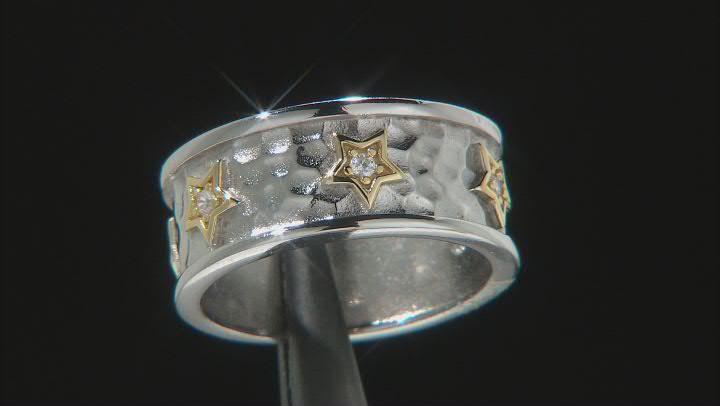 White Cubic Zirconia Rhodium And 14k Yellow Gold Over Sterling Silver Sterling Silver Star Ring