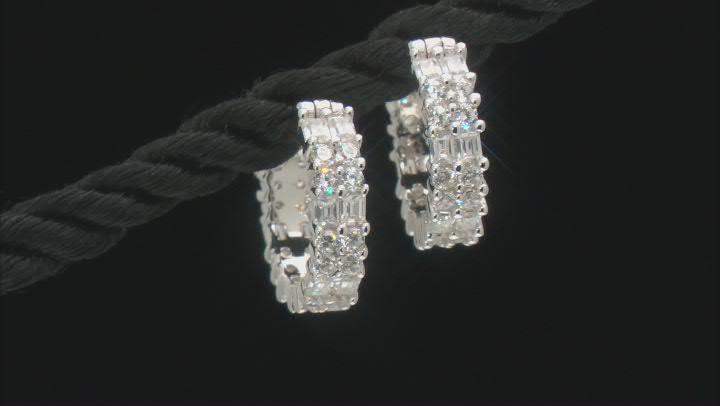 White Cubic Zirconia Rhodium Over Sterling Silver Hoop Earrings 2.39ctw