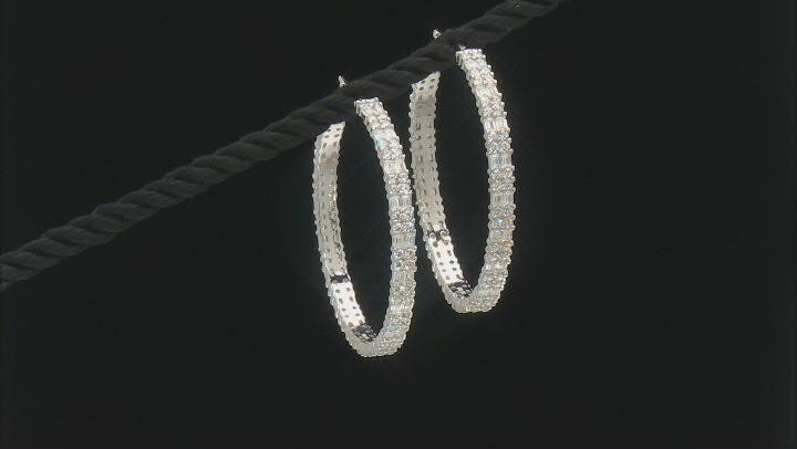White Cubic Zirconia Rhodium Over Sterling Silver Hoop Earrings 8.75ctw