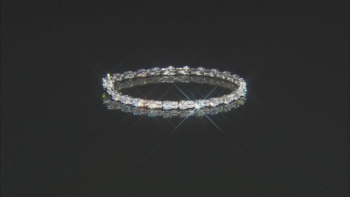 White Cubic Zirconia Rhodium Over Sterling Silver Tennis Bracelet 13.91ctw