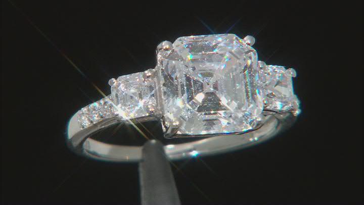 Asscher Cut White Cubic Zirconia Platinum Over Sterling Silver Ring 8.11ctw (4.72ctw DEW)