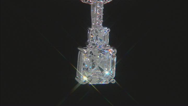 Asscher Cut White Cubic Zirconia Platinum Over Sterling Pendant With Chain 7.62ctw (4.79ctw DEW)