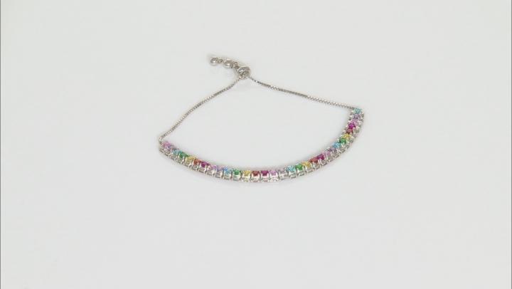 Multicolor Cubic Zirconia Rhodium Over Silver Bracelet 5.30ctw