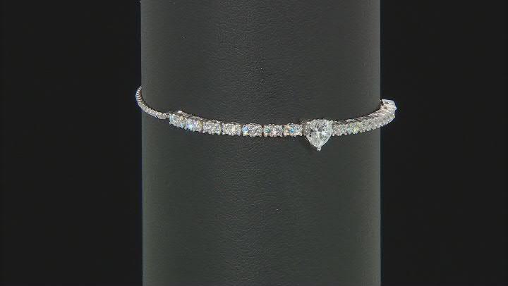 White Cubic Zirconia Rhodium Over Silver Heart Jewelry Set 10.27ctw
