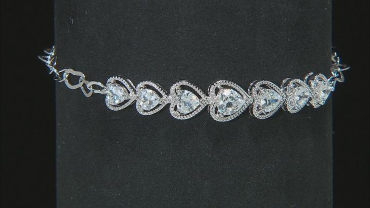 White Cubic Zirconia Rhodium Over Silver Heart Bracelet 3.49ctw