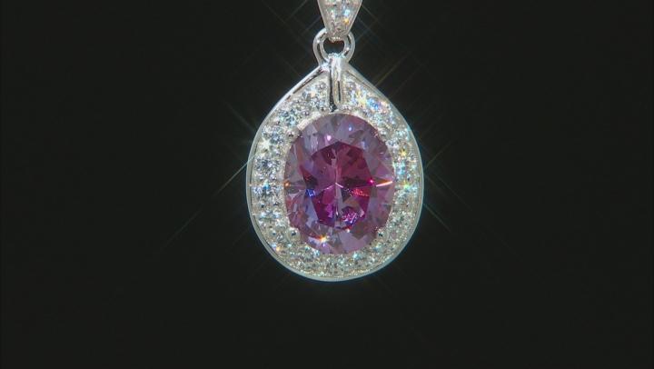 Swarovski ® Purple Zirconia & White Cubic Zirconia Rhodium Over Silver Pendant With Chain 5.06ctw