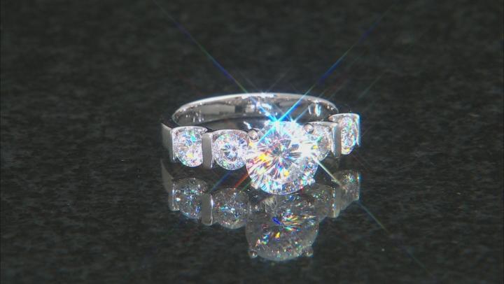 Dillenium Cut White Cubic Zirconia Rhodium Over Sterling Silver Ring 7.20ctw