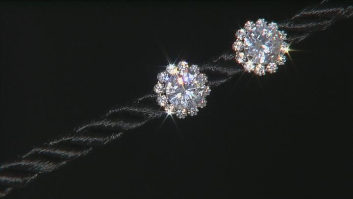 White Cubic Zirconia 10k White Gold Earrings 3.40ctw