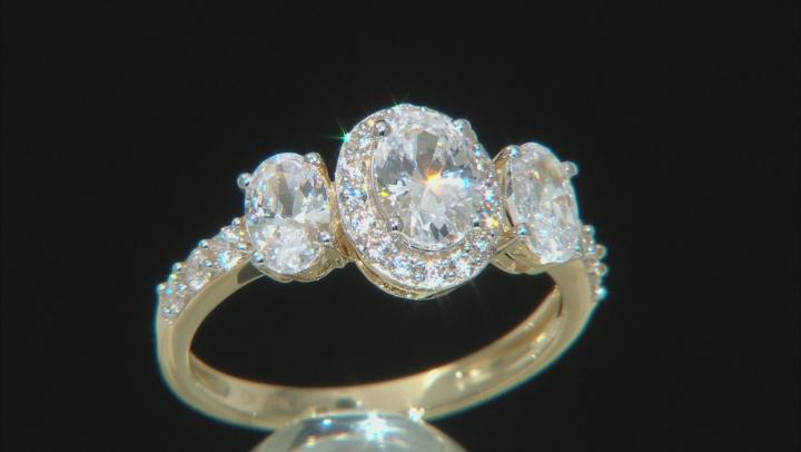 White Cubic Zirconia 10k Yellow Gold Ring 3.86ctw