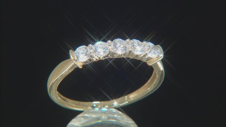 White Cubic Zirconia 10k Yellow Gold Ring 1.11ctw