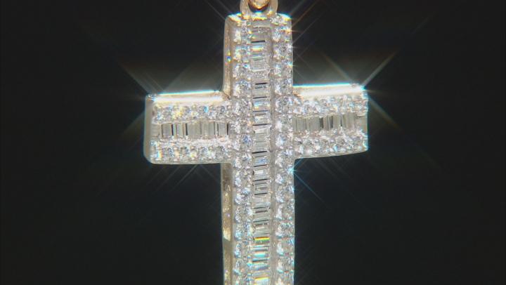 White Cubic Zirconia 10k Yellow Gold Cross Pendant With Chain 0.85ctw