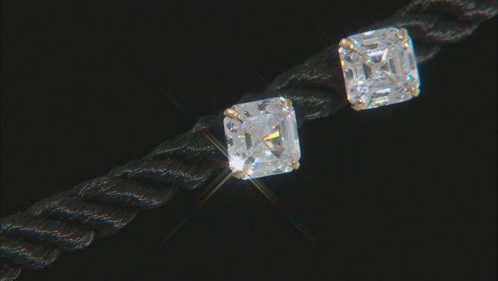 White Cubic Zirconia 14k Yellow Gold Asscher Cut Stud Earrings 2.52ctw