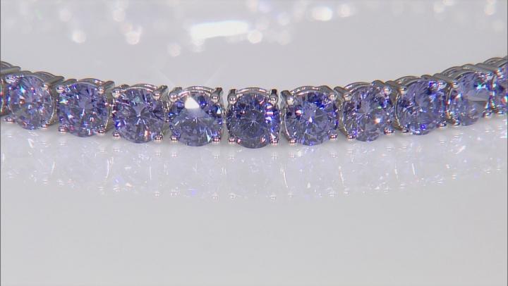 Blue Cubic Zirconia Rhodium Over Sterling Silver Tennis Bracelet 28.44ctw