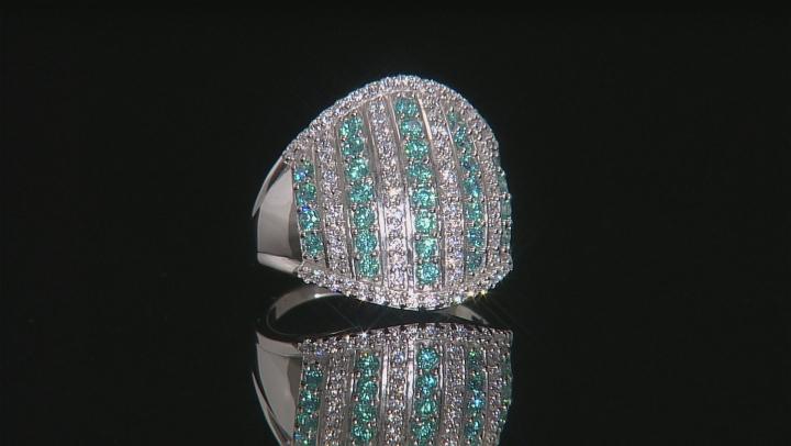 Swarovski ® Green Zirconia & White Cubic Zirconia Rhodium Over Silver Ring 3.34ctw