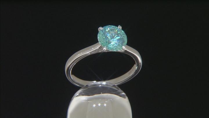 Green Zirconia From Swarovski ® Rhodium Over Sterling Silver Ring 3.33ctw
