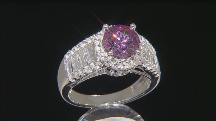 Swarovski ® Purple Zirconia & White Cubic Zirconia Rhodium Over Sterling Silver Ring 5.71ctw