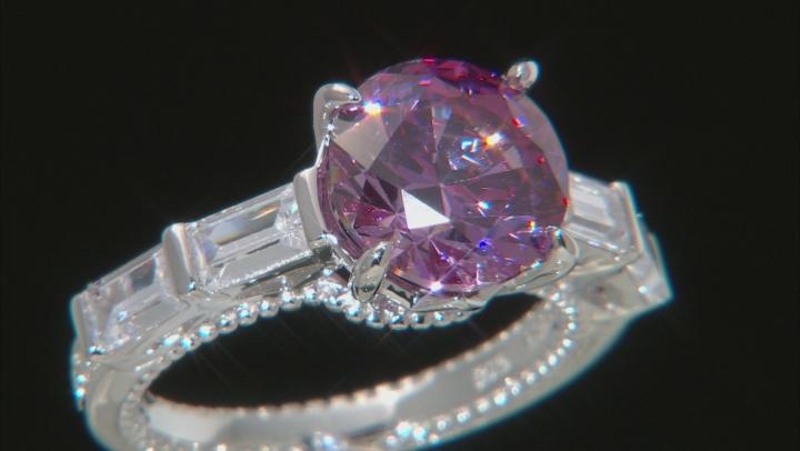 Swarovski ® purple zirconia & white cubic zirconia rhodium over silver ring 8.47ctw