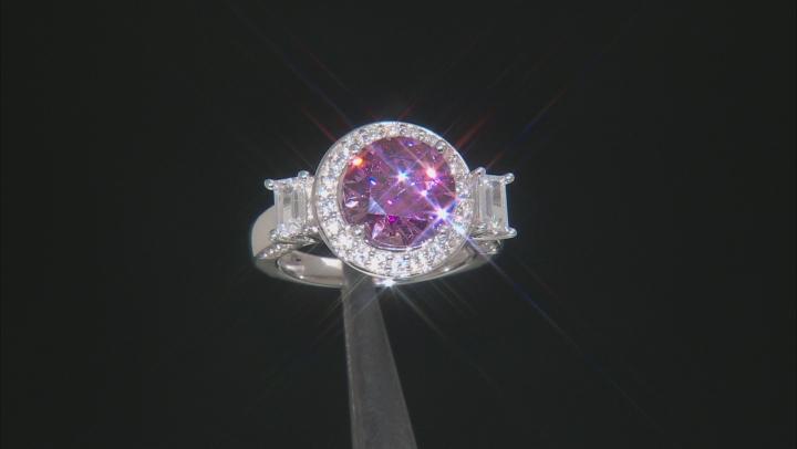 Swarovski ® purple zirconia & white cubic zirconia rhodium over silver ring 8.32ctw