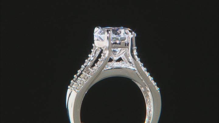 White Cubic Zirconia Rhodium Over Sterling Silver Bridge Ring 8.98ctw