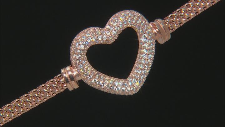 White Cubic Zirconia 18K Rose Gold Over Sterling Silver Heart Bracelet 2.10ctw
