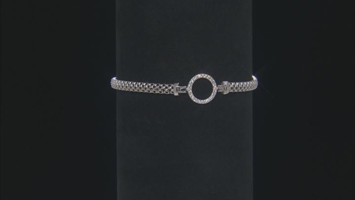 White Cubic Zirconia Rhodium Over Sterling Silver Mesh Bracelet 0.25ctw