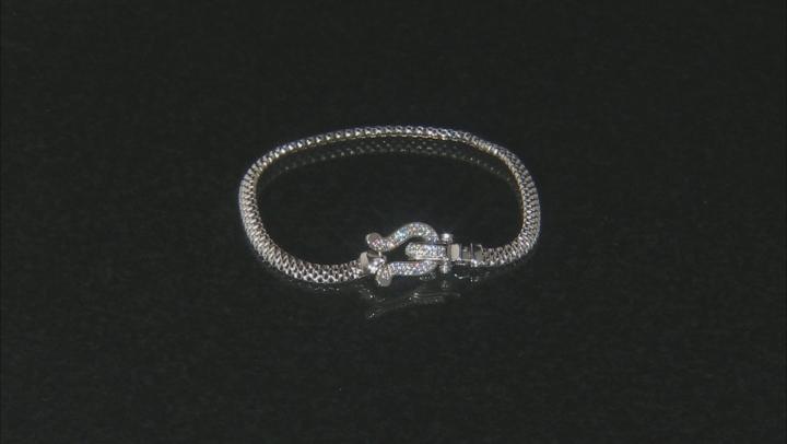 White Cubic Zirconia Rhodium Over Sterling Silver Statement Bracelet 0.64ctw