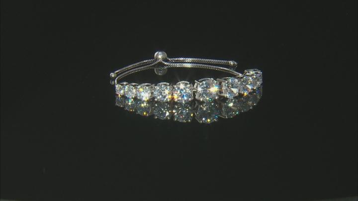 White Cubic Zirconia Rhodium Over Sterling Silver Adjustable Bracelet 30.39ctw