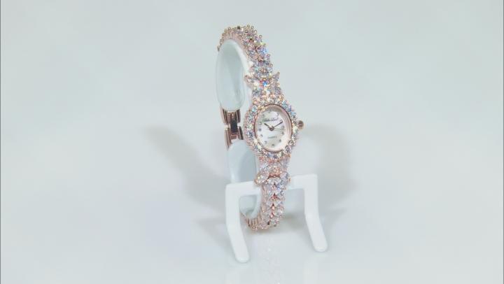White Cubic Zirconia 18K Rose Gold Over Brass Ladies Wrist Watch 30.36ctw