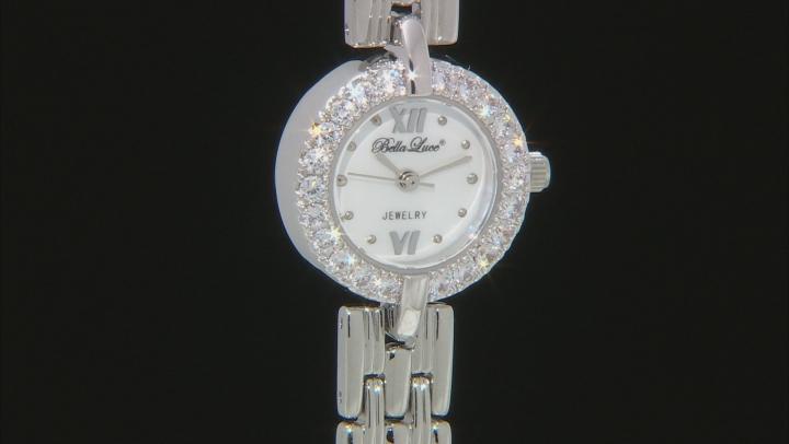 White Cubic Zirconia Rhodium Over Brass Ladies Wrist Watch 1.45ctw