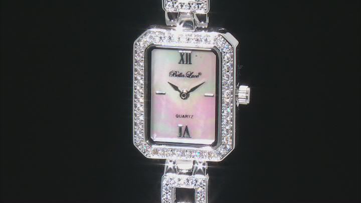 White Cubic Zirconia Rhodium Over Brass Ladies Wrist Watch 2.43ctw
