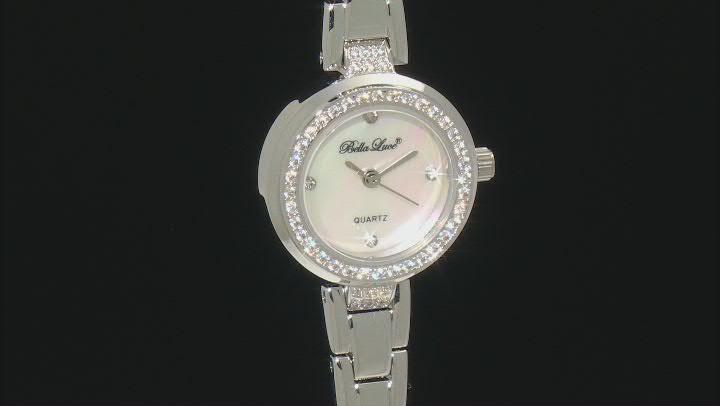 White Cubic Zirconia Rhodium Over Brass Ladies Wrist Watch 0.98ctw