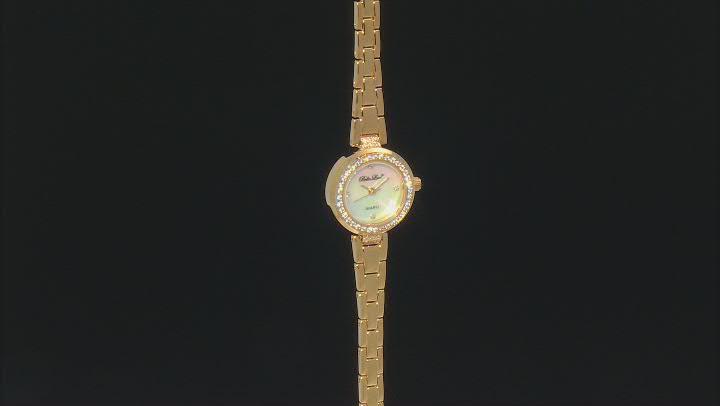 White Cubic Zirconia 18K Yellow Gold Over Brass Ladies Wrist Watch 0.98ctw