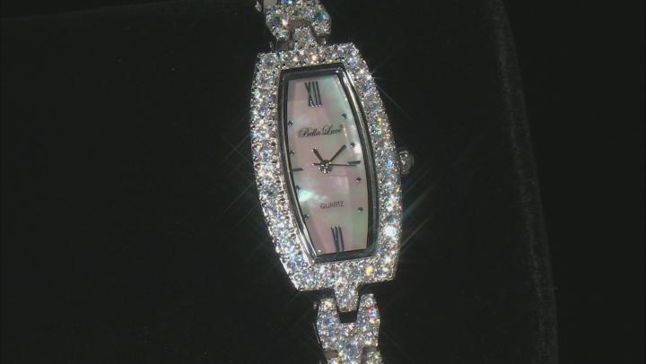 Ladies Round Diamond Simulant 8.64ctw Sterling White Watch