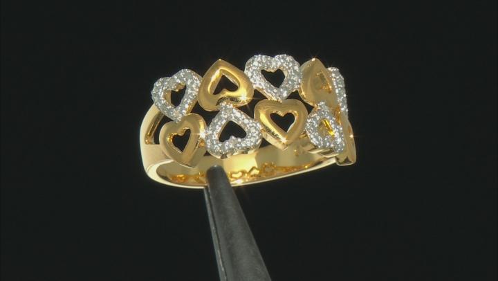 Diamond 18K Yellow Gold Over Brass 2 Row Heart Ring .10ctw