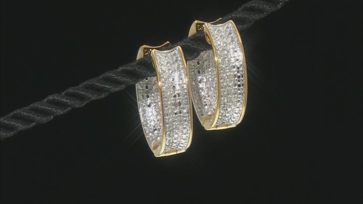 Diamond Accent 18k Yellow Gold Over Brass Inside-Outside Hoop Earrings