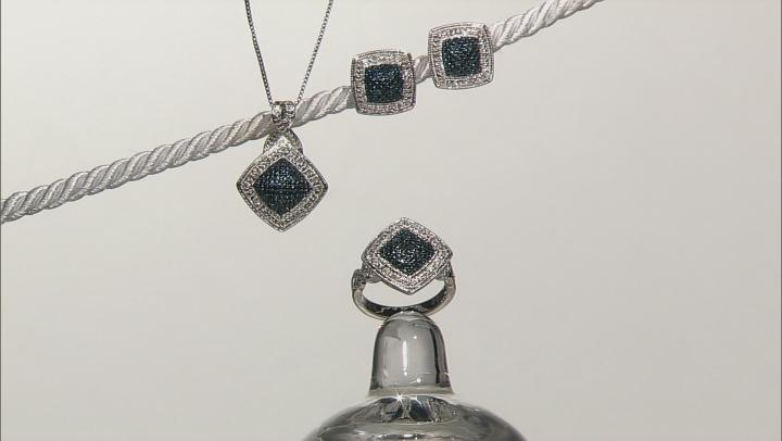 Blue And White Diamond Rhodium Over Brass Jewelry Set .25ctw