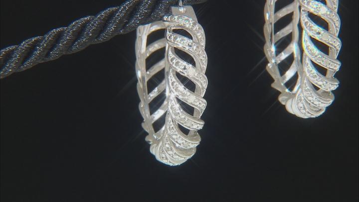 White Diamond Rhodium Over Brass Hoop Earrings 0.10ctw