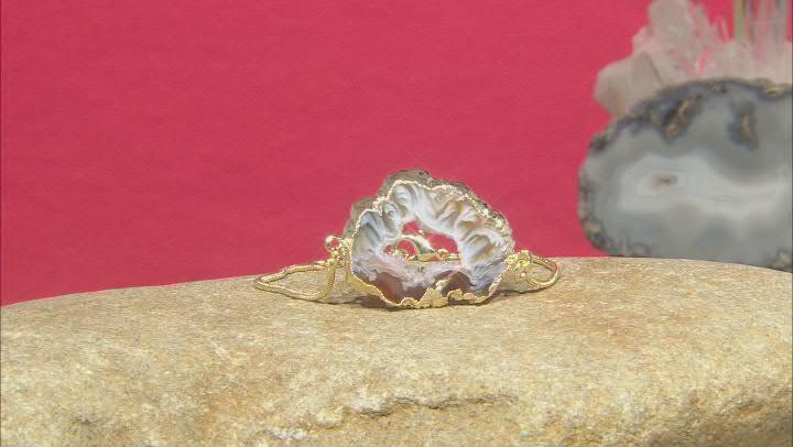 Agate 18k Yellow Gold Over Brass Bracelet