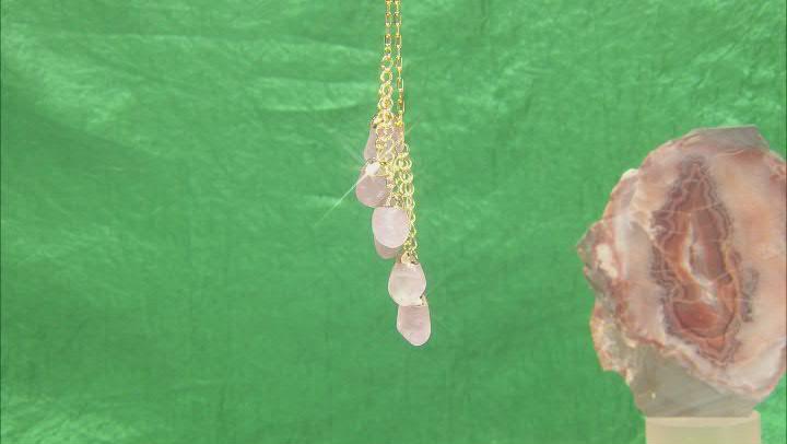 Rose Quartz 18k Yellow Gold Over Brass Drop Pendant