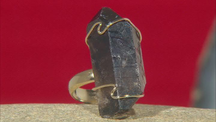 Smoky Quartz 18k Yellow Gold Over Brass Ring