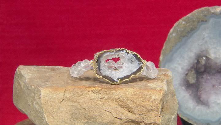 Free-Form Agate & Quartz Beads 18K Yellow Gold Over Silver Bracelet
