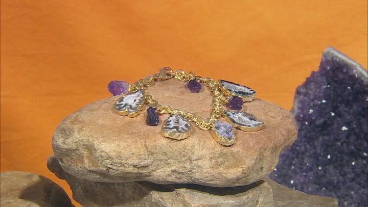 Free-Form Amethyst & Occo Agate Slice 18K Yellow Gold Over Brass Bracelet