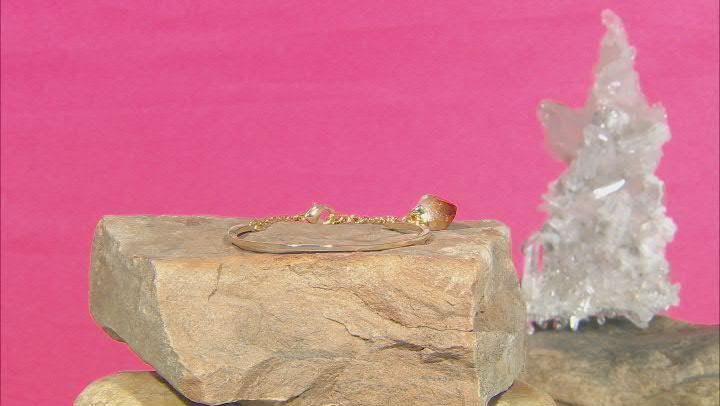 Free-Form Citrine 18K Yellow Gold Over Brass Bracelet