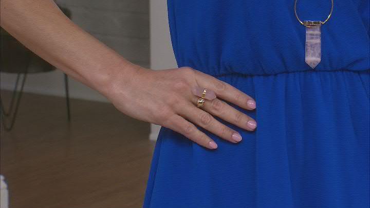 Rose Quartz 18K Yellow Gold Over Brass Ring