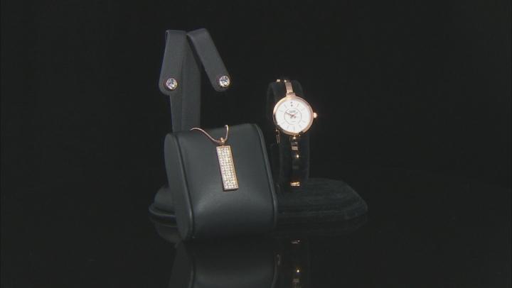 Burgi™ Crystals From Swarovski™ Rose Tone Base Metal Bangle Watch, Pendant, And Earrings Gift Set