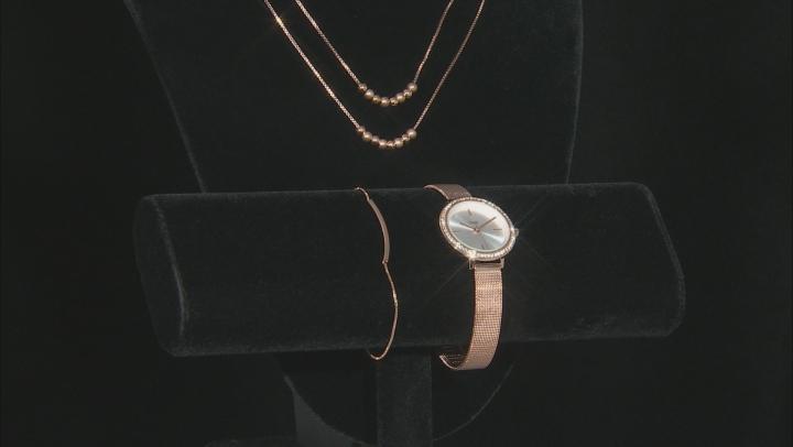 Burgi™ Crystals From Swarovski™ Rose Tone Stainless Steel Watch Gift Set.