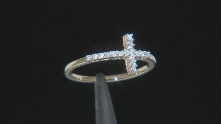 White Diamond 10k Yellow Gold Cross Ring .12ctw